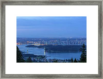 Vancouver Bc Cityscape During Blue Hour Dawn Framed Print by David Gn