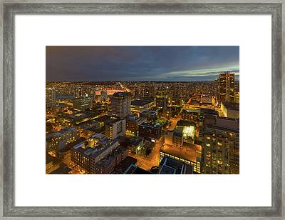 Vancouver Bc Cityscape During Evening Twilight Framed Print by David Gn