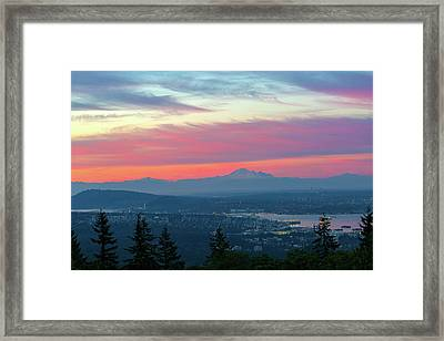 Vancouver Bc Cityscape With Cascade Range Morning View Framed Print by David Gn