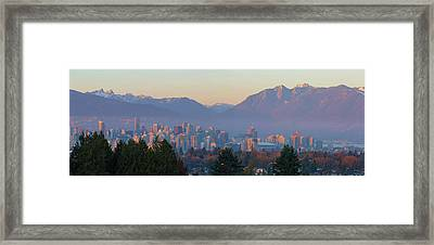 Vancouver Bc Downtown Cityscape At Sunset Panorama Framed Print
