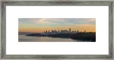 Vancouver Bc Skyline Along Stanley Park At Sunset Framed Print