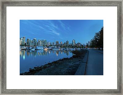Vancouver Bc Skyline Along Stanley Park Seawall Framed Print by David Gn