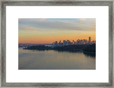 Vancouver Bc Skyline And Stanley Park At Sunset Framed Print
