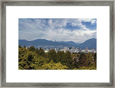 Vancouver Bc Skyline Daytime View Framed Print by David Gn