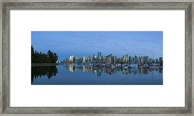 Vancouver Bc Skyline During Blue Hour Panorama Framed Print by David Gn