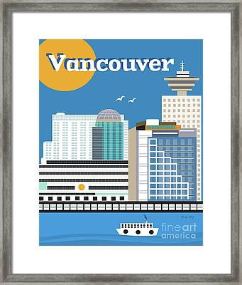 Vancouver British Columbia Canada Vertical Skyline Framed Print by Karen Young