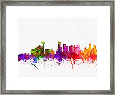 Vancouver British Columbia Skyline Color02 Framed Print by Aged Pixel