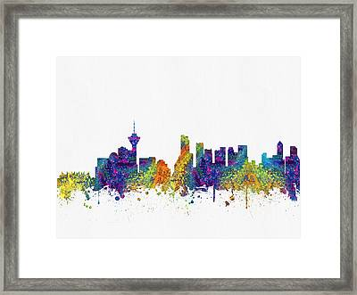 Vancouver British Columbia Skyline Color03 Framed Print by Aged Pixel