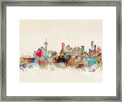Framed Print featuring the painting Vancouver City Skyline by Bri B