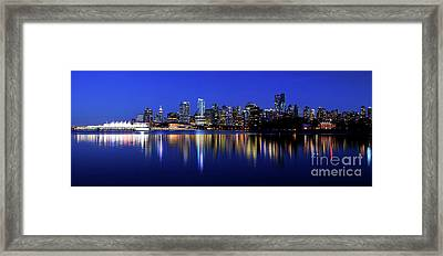 Vancouver City Skyline Panorama At Dusk Framed Print