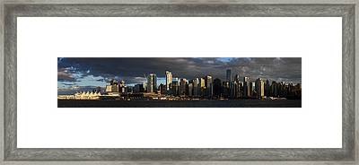 Vancouver City Sunset Panorama From Stanley Park Framed Print by Pierre Leclerc Photography