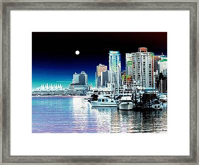 Vancouver Harbor Moonrise  Framed Print