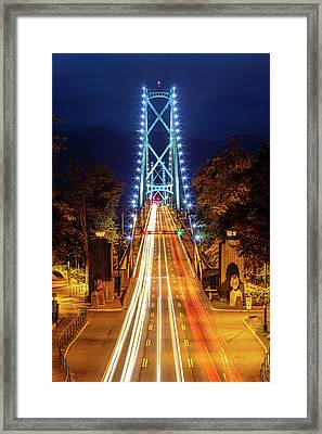 Framed Print featuring the photograph Vancouver Lions Gate Bridge At Night by Pierre Leclerc Photography
