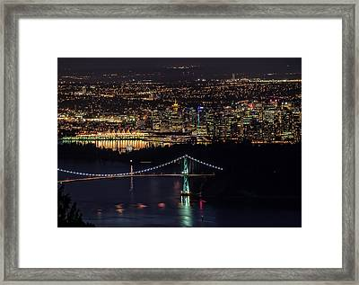 Vancouver Night From Cypress Mountain Framed Print