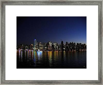 Vancouver Night Lights Framed Print by Will Borden