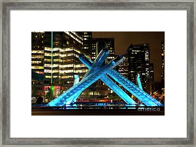 Vancouver Olympic Cauldron At Night Framed Print
