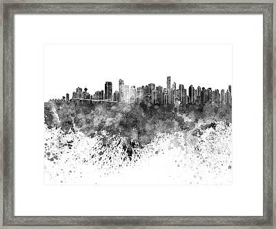 Vancouver Skyline In Black Watercolor On White Background Framed Print by Pablo Romero