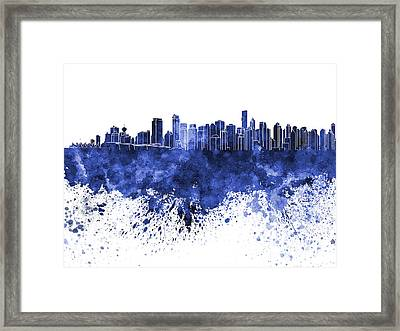 Vancouver Skyline In Blue Watercolor On White Background Framed Print by Pablo Romero