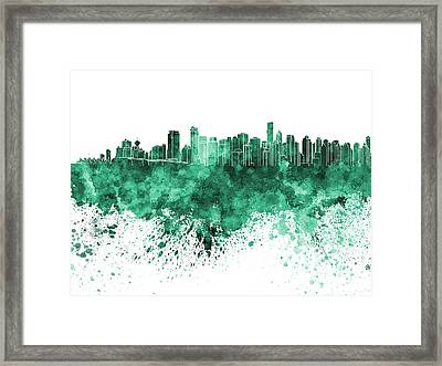 Vancouver Skyline In Green Watercolor On White Background Framed Print by Pablo Romero