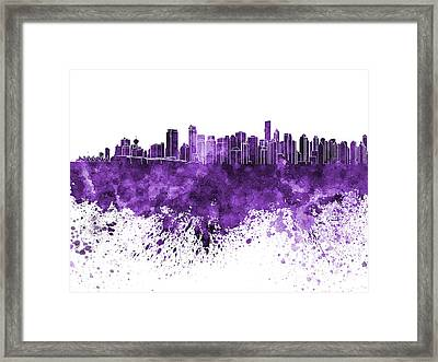 Vancouver Skyline In Purple Watercolor On White Background Framed Print by Pablo Romero