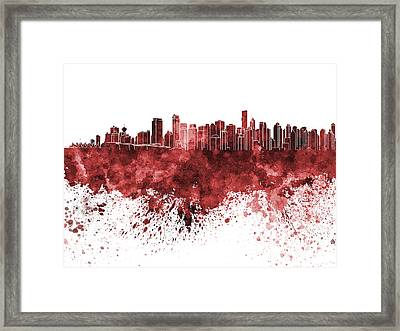 Vancouver Skyline In Red Watercolor On White Background Framed Print by Pablo Romero