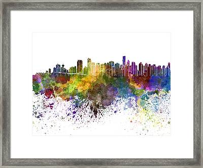 Vancouver Skyline In Watercolor On White Background Framed Print by Pablo Romero