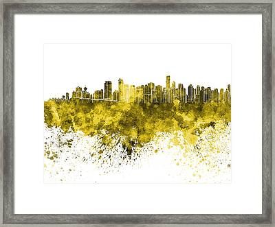 Vancouver Skyline In Yellow Watercolor On White Background Framed Print by Pablo Romero
