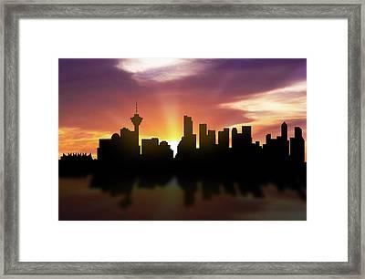 Vancouver Skyline Sunset Cabcva22 Framed Print by Aged Pixel