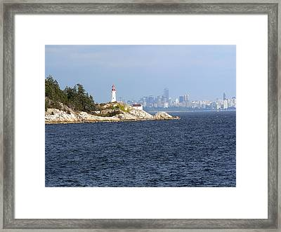 Vancouver Skyline With Lighthouse Framed Print