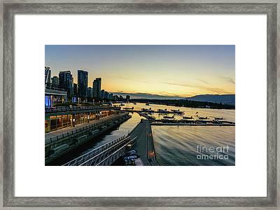 Vancouver Waterfront At Night Framed Print by Viktor Birkus