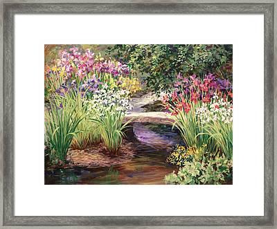 Vandusen Garden Iris Bridge Framed Print by Laurie Hein