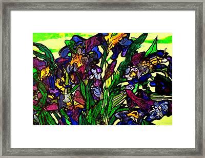 Vangogh Iris Montage In Focus Framed Print