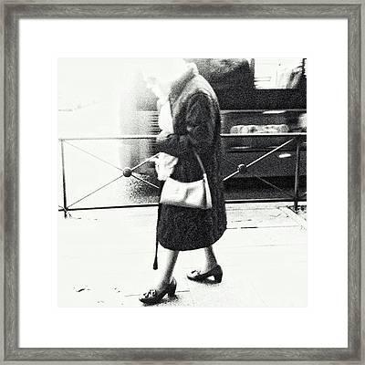 Vanishing Lady #woman #city #walking Framed Print