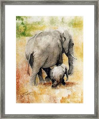 Vanishing Thunder Series - Mama And Baby Elephant Framed Print