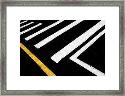 Framed Print featuring the photograph Vanishing Traffic Lines With Colorful Edge by Gary Slawsky