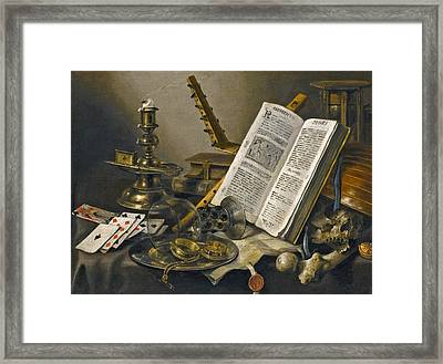 Vanitas Still Life With A Book A Glass Roemer A Skull A Lute A Pack Of Cards And Piece Of Parchment  Framed Print