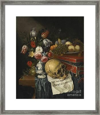 Vanitas Still Life With A Vase Of Flowers Framed Print