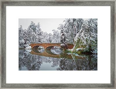 Varsity Pond Bridge Framed Print by Lee Craker