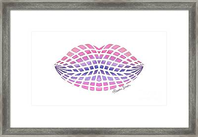 Vasarely Style Lips Framed Print