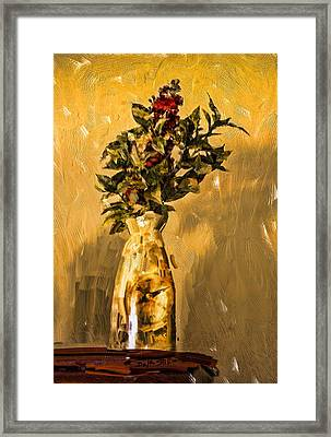 Framed Print featuring the digital art Vase And Flowers by Dale Stillman