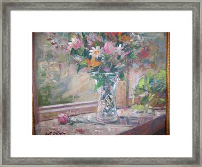 Vase And Flowers In Window Sill. Framed Print