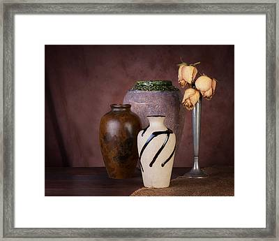 Vase And Roses Still Life Framed Print by Tom Mc Nemar