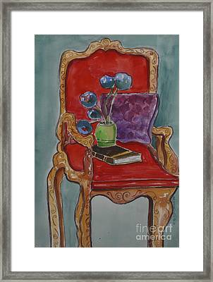 Vase Book And Chair Framed Print by Linda Rupard