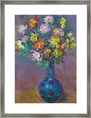 Vase Of Chrysanthemums Framed Print by Claude Monet