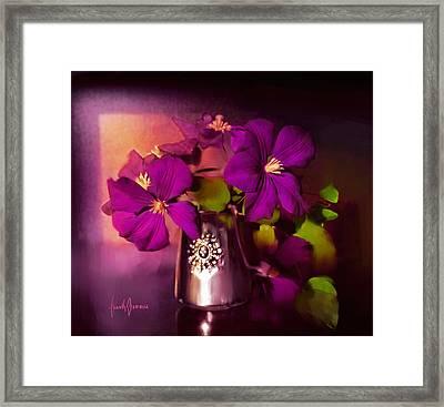 Vase Of Flowers Framed Print by Frank Bonnici