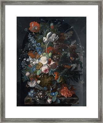 Vase Of Flowers In A Niche Framed Print