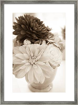 Vase Of Flowers In Sepia Framed Print