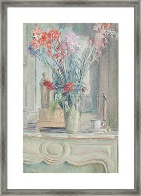 Vase Of Flowers With A Teacup On A Table Framed Print