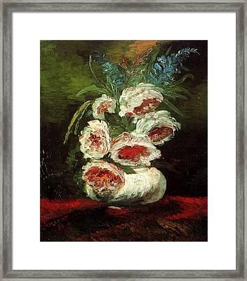 Vase Of Peonies Framed Print by William Merritt