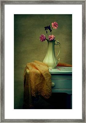 Vase Of Pink Roses Framed Print